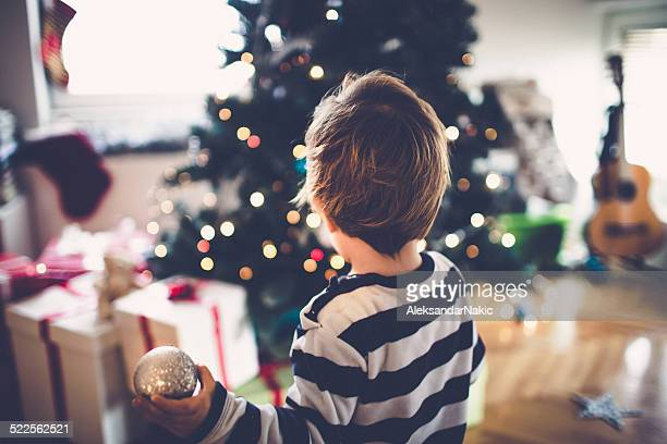 Little boy decorating his first Christmas tree