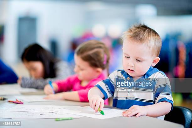 little boy drawing - colouring stock photos and pictures