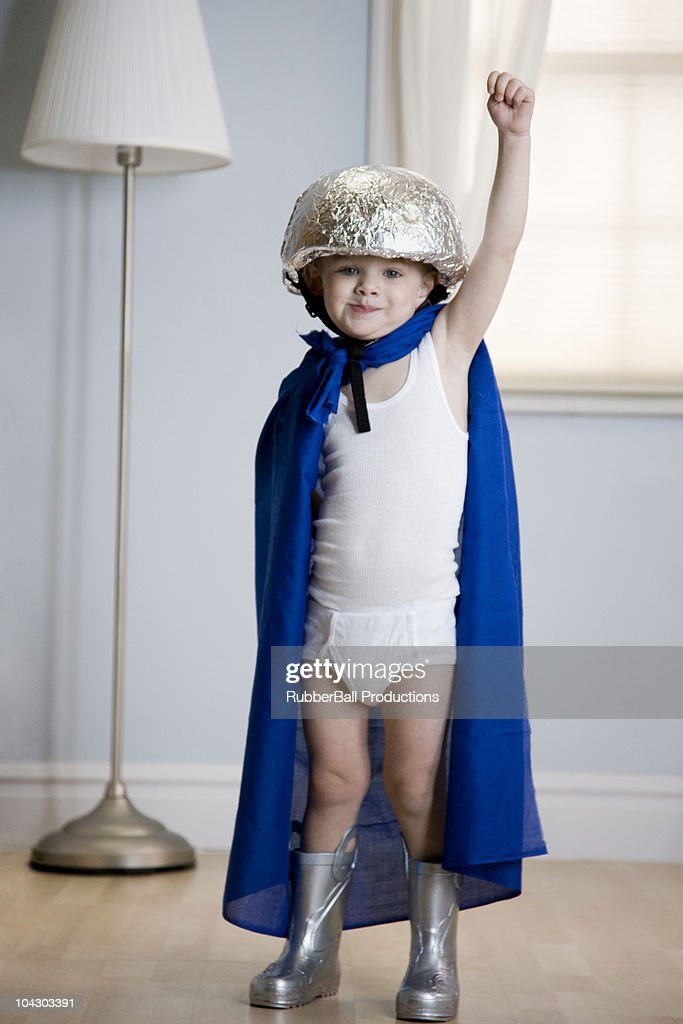 little boy dressed as a superhero : Stock Photo