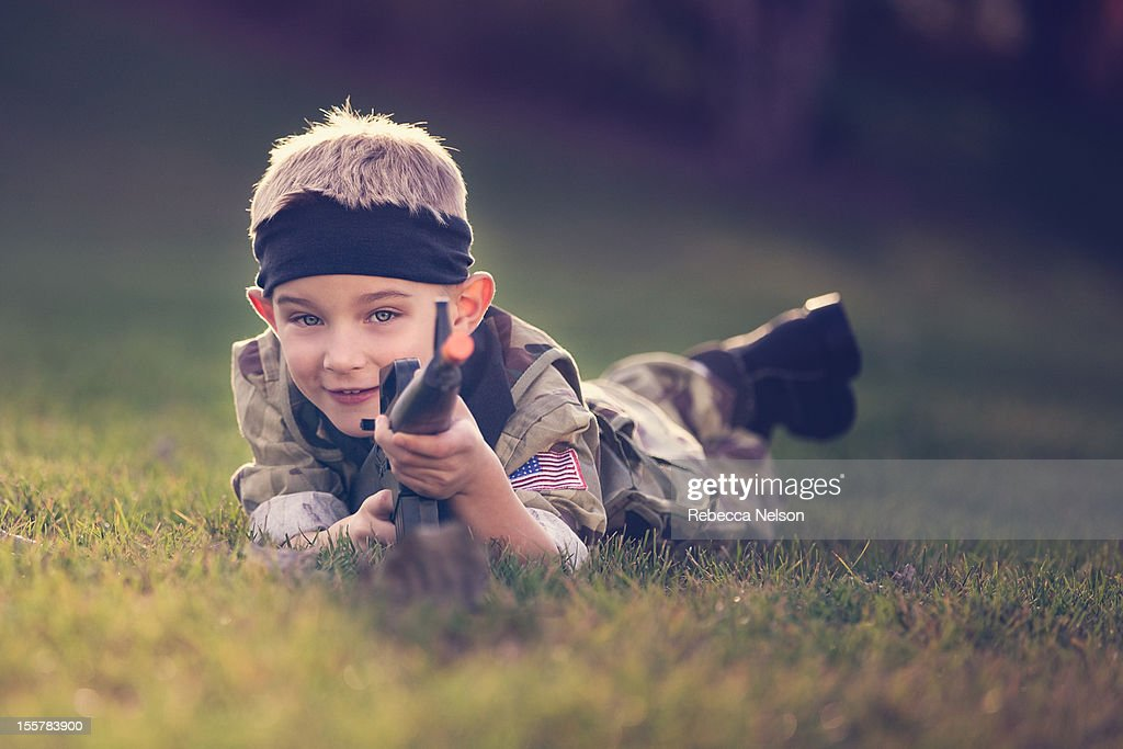 Little Boy Dressed in Soldier Costume : Stock Photo
