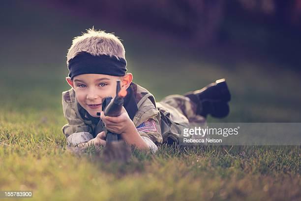 little boy dressed in soldier costume - 軍服 ストックフォトと画像