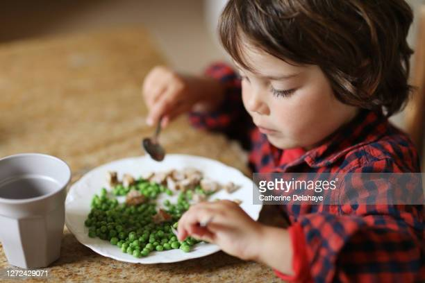 a little boy eating peas for the lunch - vegetable stock pictures, royalty-free photos & images