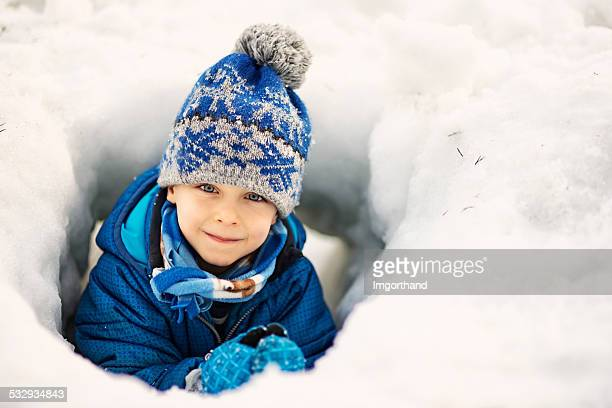 Little boy enjoying winter
