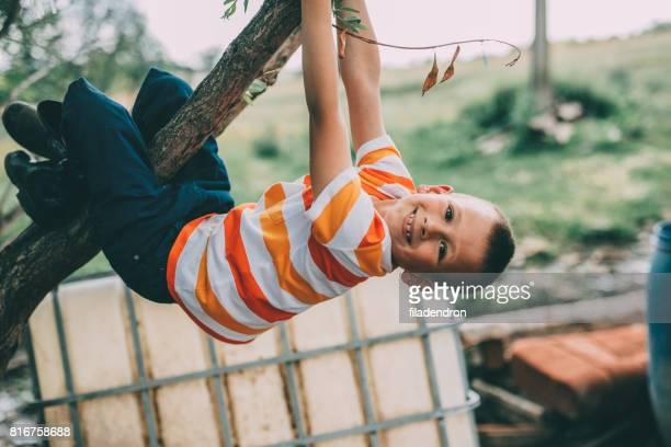 Kleiner Junge an einem Baum hängen