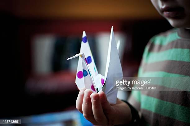 a little boy holding an origami crane - grupo mediano de animales imagens e fotografias de stock