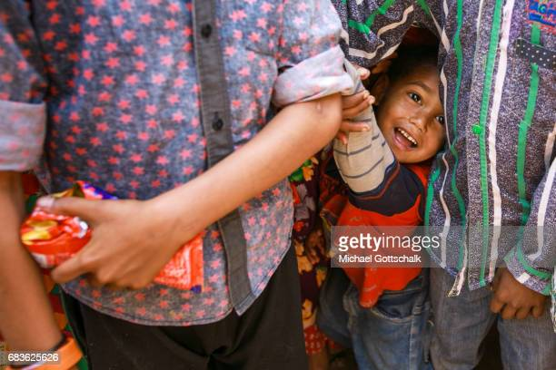 Little boy in a slum of the city district Seemapuri where the Caritas and the NGO Chentanalaya support urban marginal groups on April 05 2017 in...