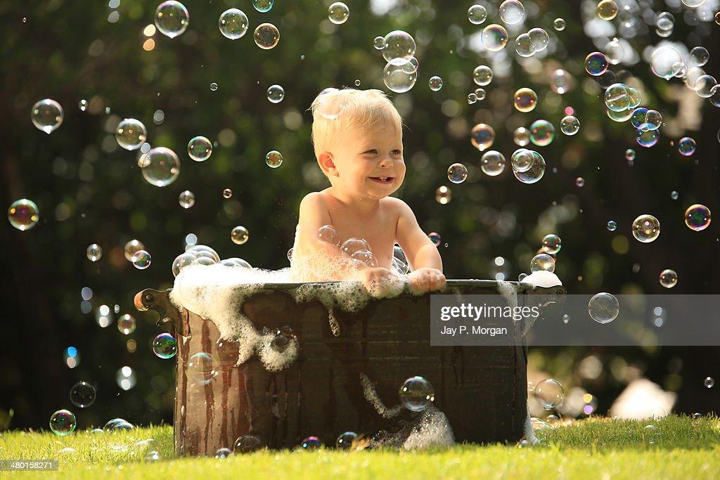 Little Boy In Bubble Bath Stock Photo | Getty Images