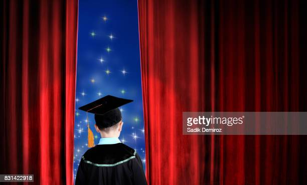 little boy in mortarboard and gown - child prodigy stock pictures, royalty-free photos & images
