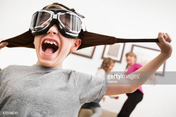 little boy is going crazy - aviation hat stock photos and pictures