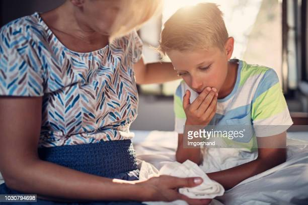 little boy is very sick - cough stock pictures, royalty-free photos & images