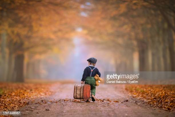 little boy is walking in the forest with a suitcase as trawelling in autumn colors from behind - partir photos et images de collection