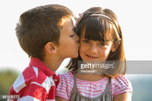 Little boy kissing his girlfriend stock photo getty images thecheapjerseys Images