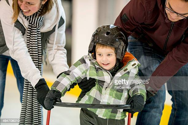 Little Boy Learning to Ice Skate