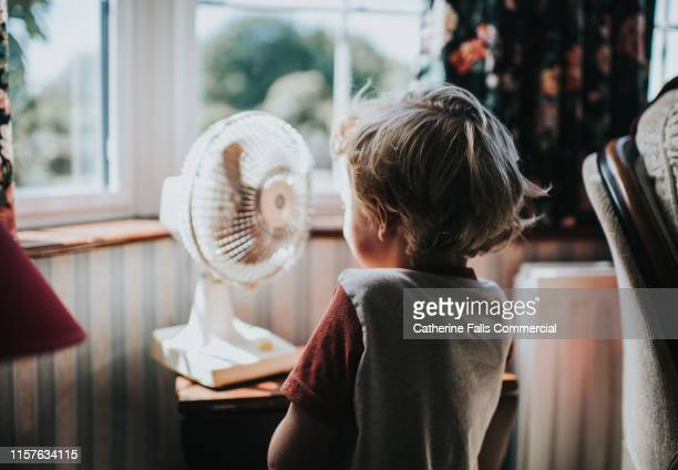 little boy looking at a fan - heat stock pictures, royalty-free photos & images