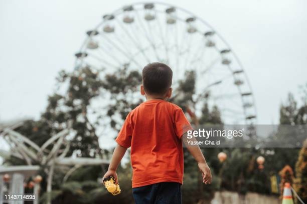 little boy looking at ferris wheel - amusement park stock pictures, royalty-free photos & images