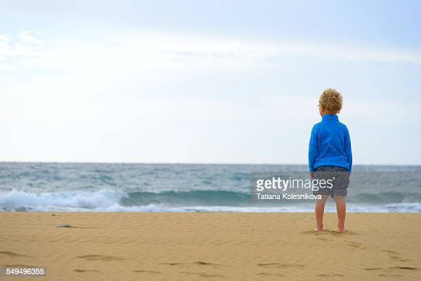 Little boy looking at sea