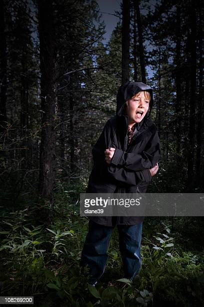 Little boy lost in the woods crying for help