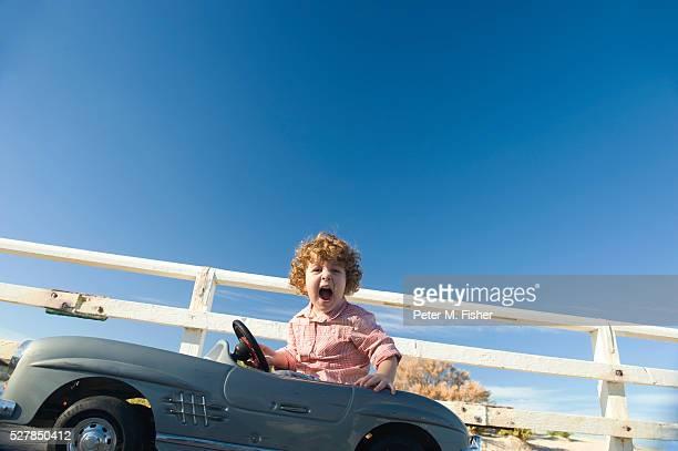 Little boy on a car ride
