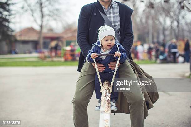 Little boy on seesaw