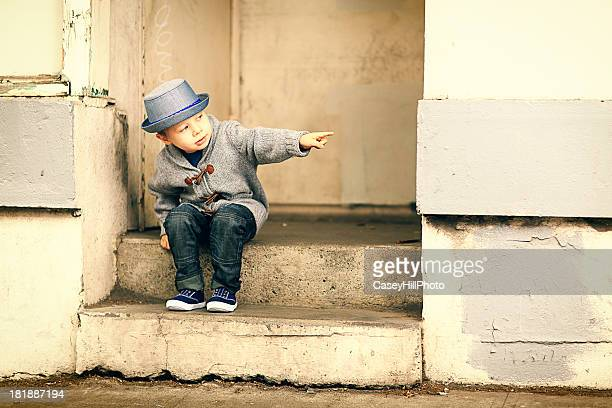 Little Boy on Steps