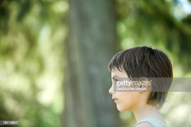 Little boy outdoors, cropped view of head and shoulders, side view