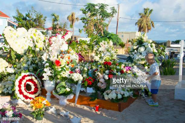 A little boy places a flower on the tomb of late French music icon Johnny Hallyday on the French Caribbean island of SaintBarthelemy on December 12 a...