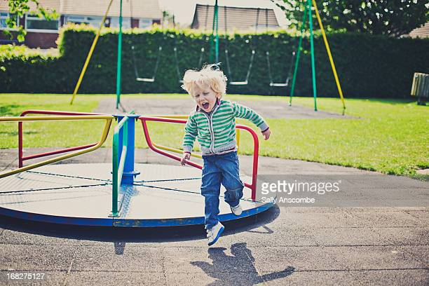 Little boy playing at the park