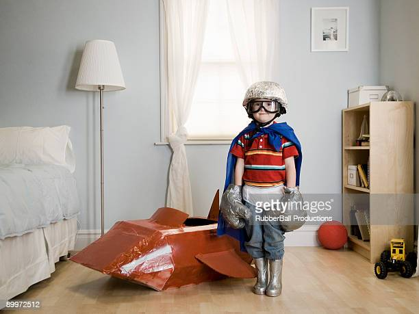 little boy playing dress up - astronaut stock pictures, royalty-free photos & images