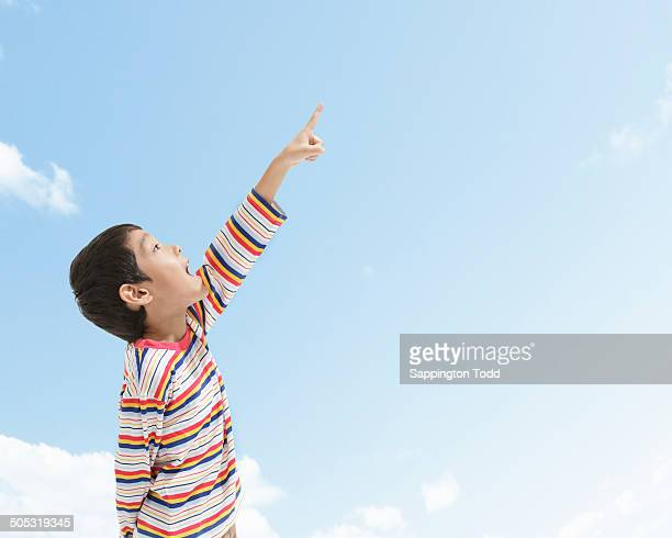 Little Boy Pointing At Sky