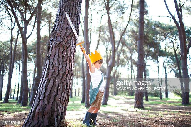 Little boy prince in forest victory crown & sword