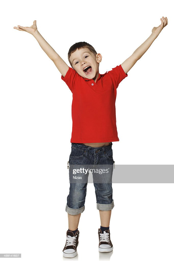 99f965a9152ae Little Boy Raised His Hands And Shouts Stock Photo | Getty Images
