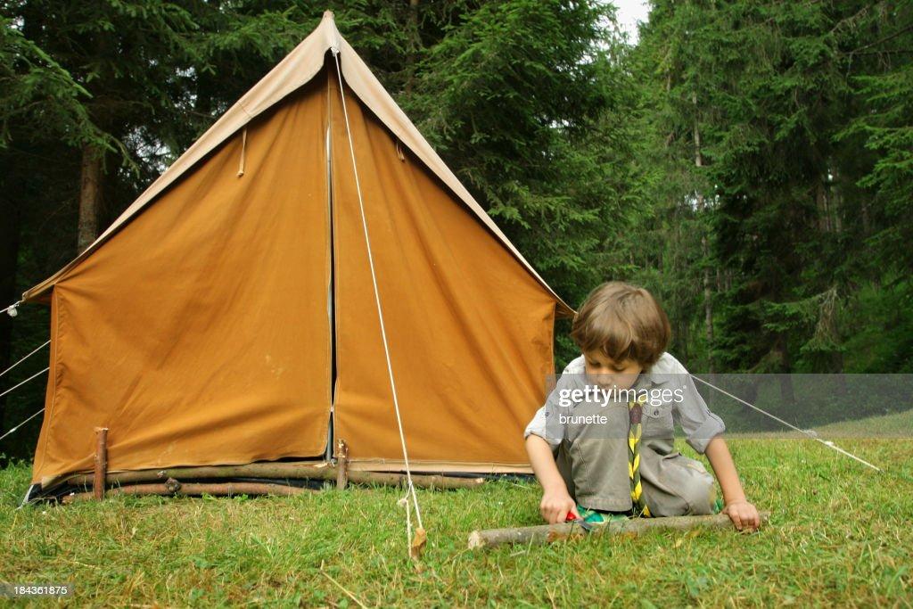 Little Boy Scout building a orange tent  Stock Photo & Little Boy Scout Building A Orange Tent Stock Photo | Getty Images