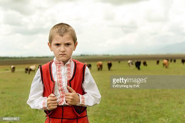 Little boy shepherd village
