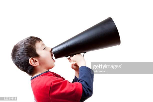 Little Boy Shouting On Old Fashioned Megaphone