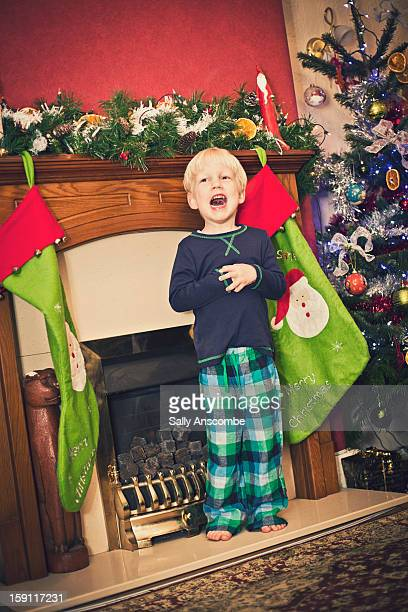 Little boy singing at Christmas time.