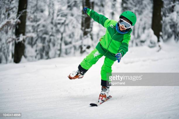 little boy skiing on one ski - seven crash stock pictures, royalty-free photos & images