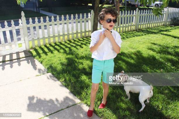 a little boy standing on his front lawn with his little white dog. he looks like he is talking to someone off camera. he is wearing sunglasses, red shoes, a white shirt and green shorts and a striped bow tie. - white shirt stock pictures, royalty-free photos & images