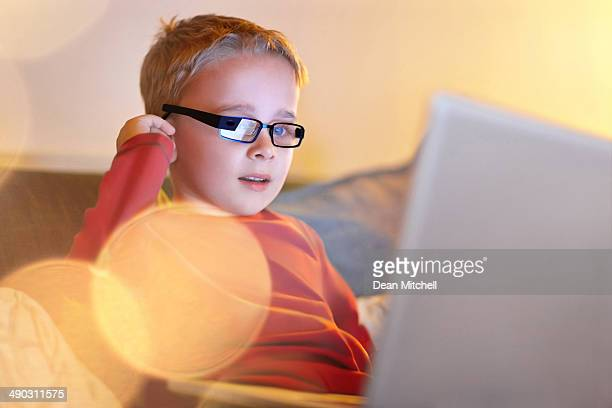 Little boy using latest technology