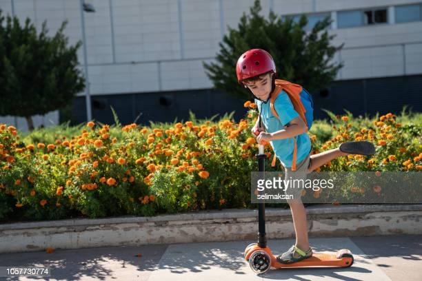 Little Boy Using Push Scooter In Public Park