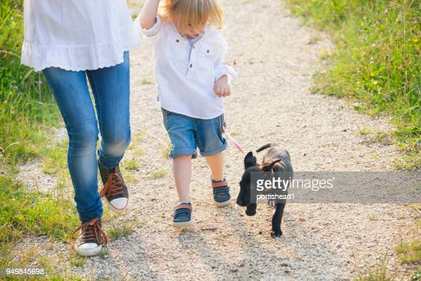 Little boy walking in park with his mother and puppy