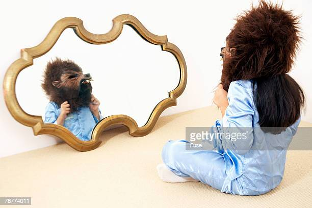 little boy wearing mask - lobisomem imagens e fotografias de stock