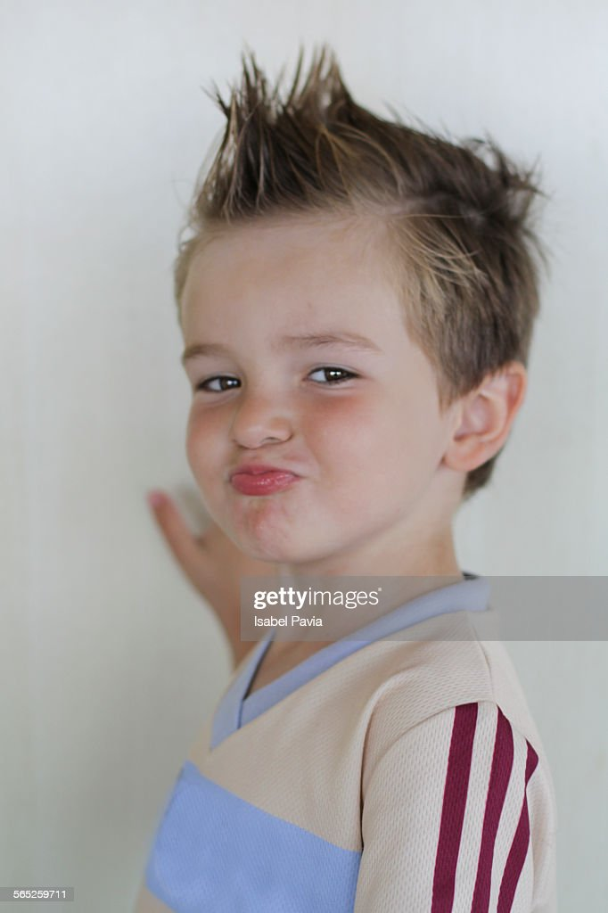 Little Boy With A Mohawk Hairstyle Smiling Stock Photo Getty Images