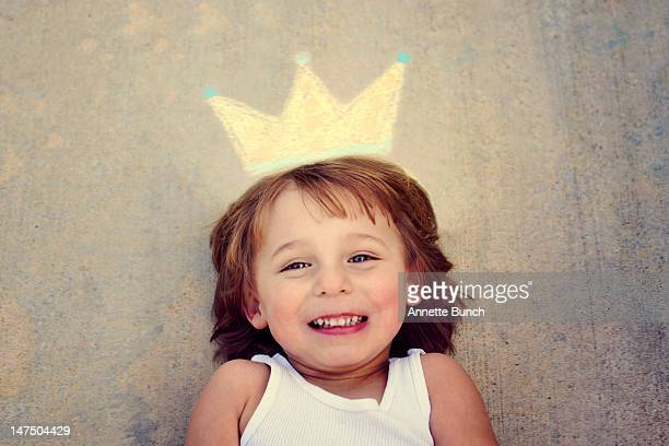 Little boy with chalk crown