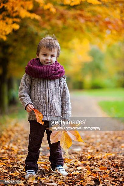 Little boy with giant leaf in a park