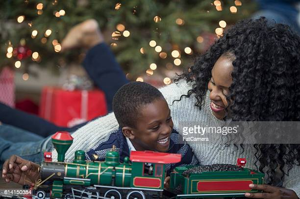 Little Boy with His New Train