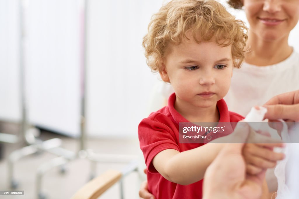 Little Boy with Injured finger : Stock Photo