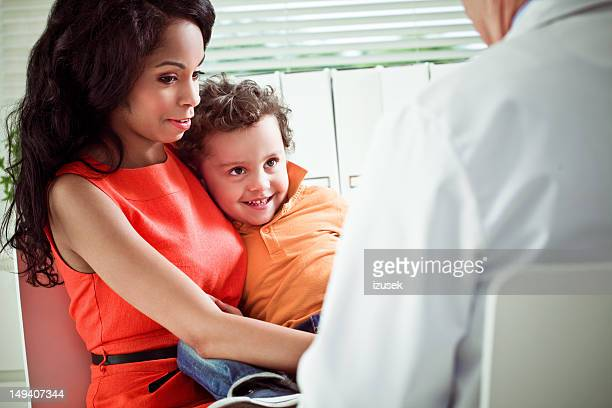 Little boy with mom at a doctor
