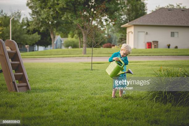 little boy with watering can - annie sprinkle stock pictures, royalty-free photos & images