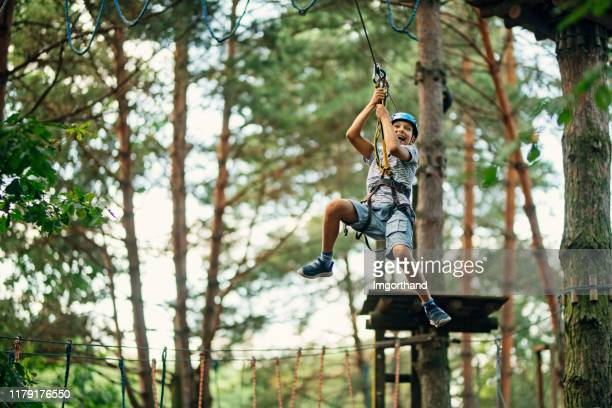 little boy ziplining in forest - high up stock pictures, royalty-free photos & images