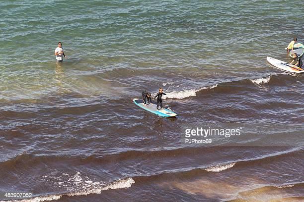 Little boys at School of surf in Sanary Sur Mer